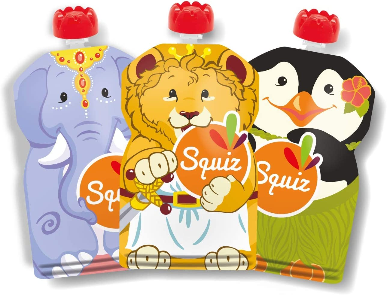 SQUIZ - 3 Bolsitas recargables y reutilizables 130ml para compotas y purés perfectas para niños, adolescentes y adultos // Libre de BPA - HECHO EN SUIZA