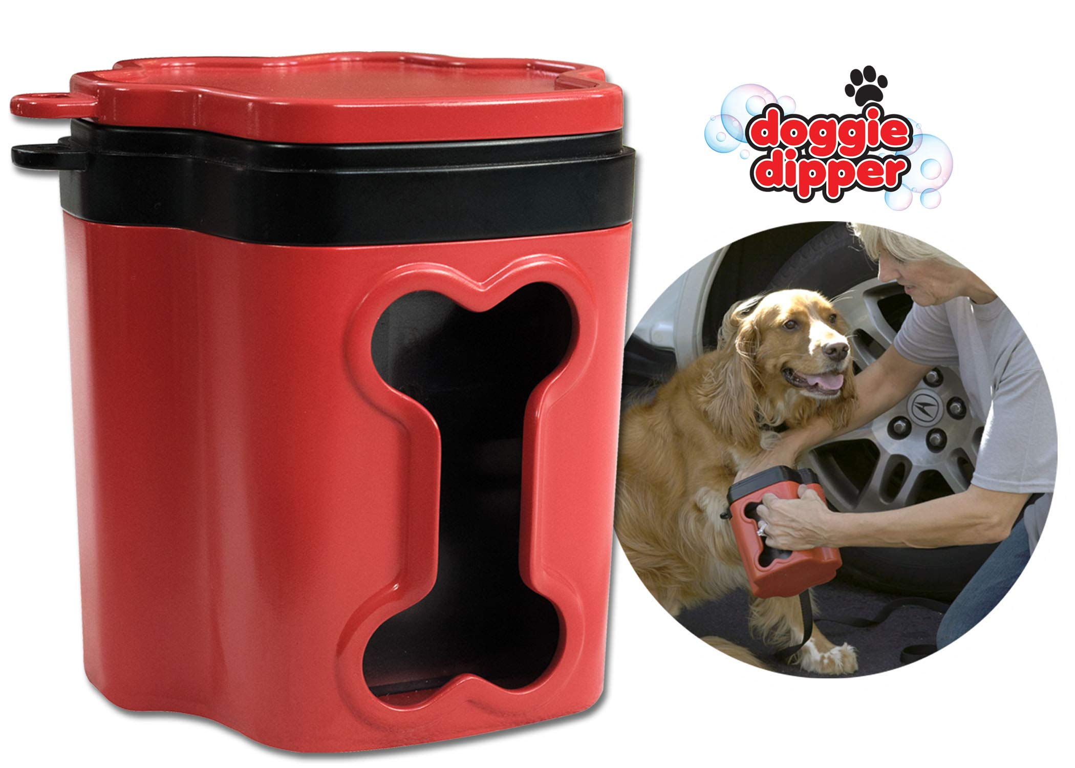 Doggie Dipper - Portable Dog Paw Cleaner/Washer - Quick & Easy to use - Keeps Furniture and Carpet Away from Muddy Paws - Comfortable Silicone Dog Feet Cleaner