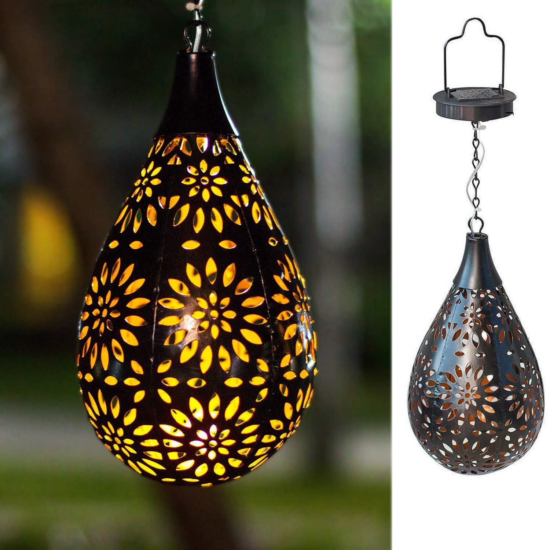 BOAER Hanging Solar Lights Outdoor Garden LED Flower Waterproof Decorative Metal Light for Porch Garden Outdoor