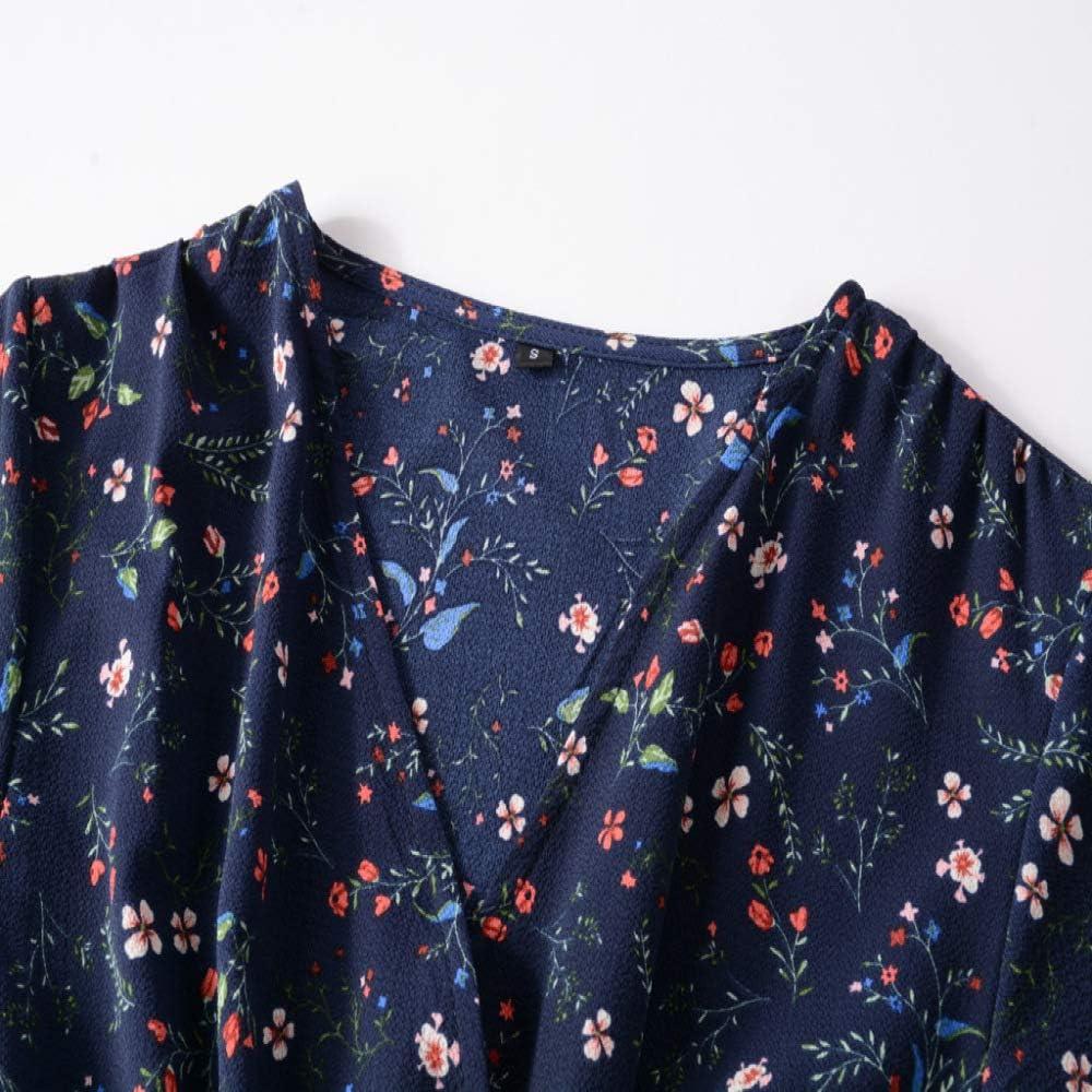 Spring New Chiffon Printed V-Neck Waistband Long Sleeve Dress Big Swing Swallow Tail Skirt Tibetan Small Broken Flower