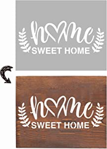 Agantree Home Sweet Home Stencils 13x9inch - Inspirational Word Stencils Template for Drawing Painting Spraying a Wood Floors Furniture Paper Window Glass Door Wall Sign