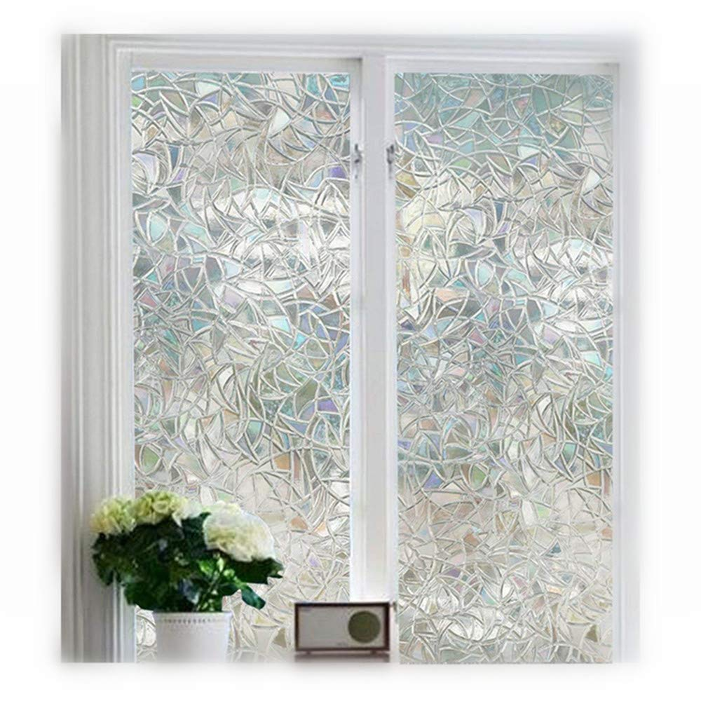 Soqool Decorative Window Film Stained Glass Window Film 3D Window Covering No Adhesive Vinly Film Window Cling Decor for Window 17.7x 78.7 Inch