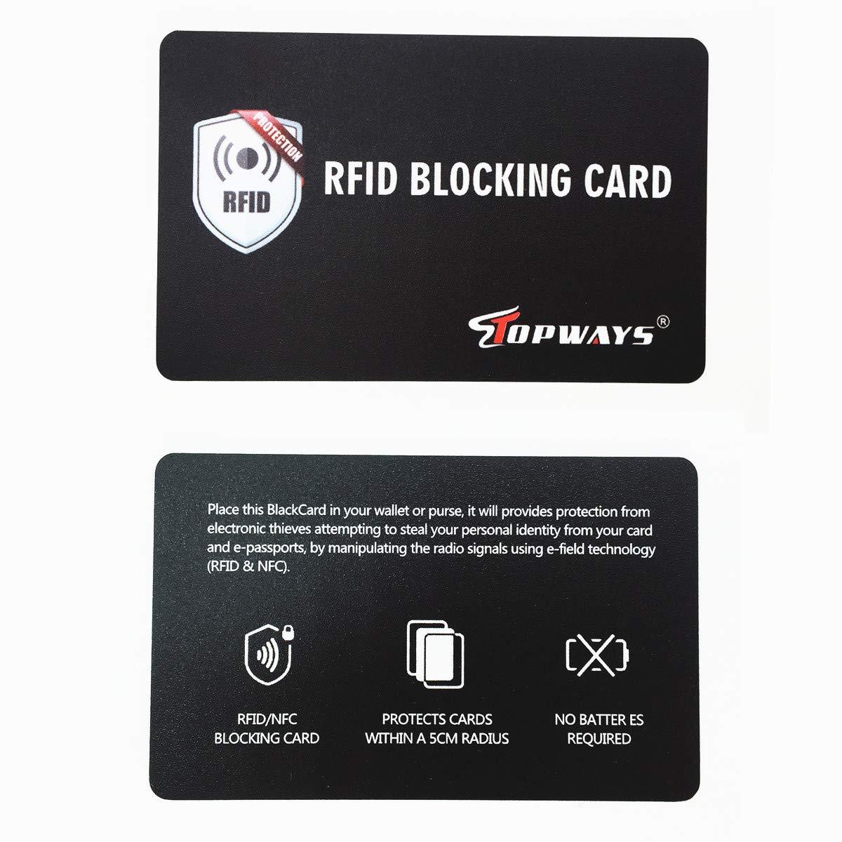 Topways® RFID Blocker, La protección RFID para Tarjetas de crédito de (Anti RFID/NFC Protector, Tarjetas de crédito sin Contacto),1 es Suficiente, la ...