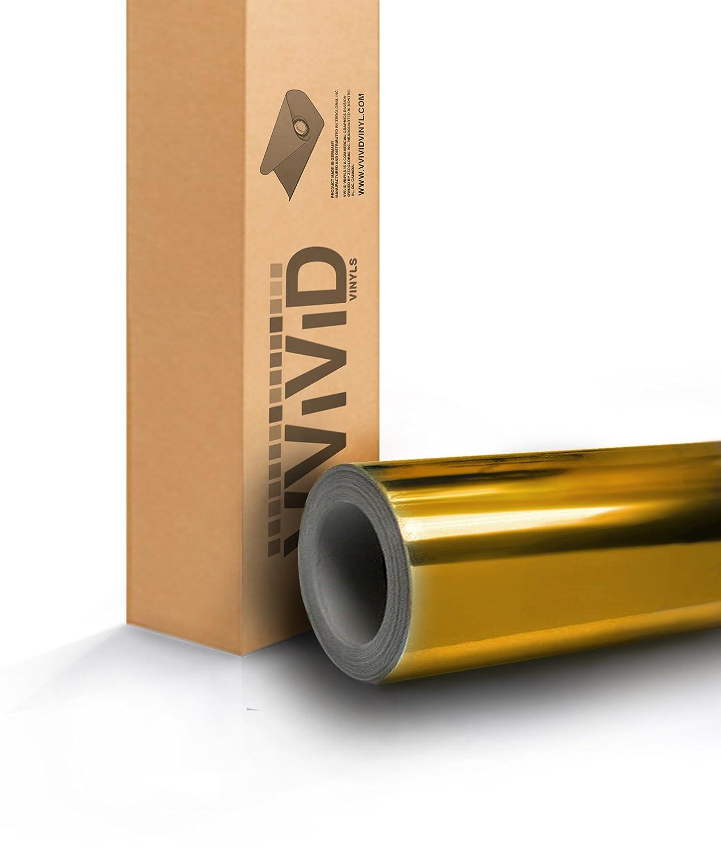 VViViD8 Gold Mirror Chrome Vinyl Car Wrap 3ft x 5ft Self Adhesive Film Decal Air Release Bubble-Free