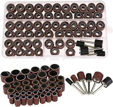 AUSTOR 252 Pieces Sanding Drum Kit with Free Box Including 240 Pieces Drum Sander Sanding Sleeves and 12 Pieces Drum Mandrels for Dremel Rotary Tool