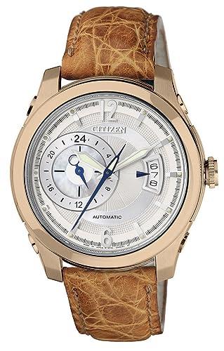 Citizen NP3013-28D - Reloj analógico automático para Hombre, Correa de Piel de cocodrilo Color marrón: Amazon.es: Relojes