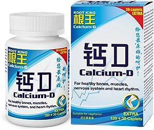 ROOT KING Calcium D 1 Caplet- 500mg Calcium Carbonate & 125iu Vitamin D (150 Tablets/Capsule) Absorbable Calcium for Maximum Bone Strength Health Supplement with Vitamin D