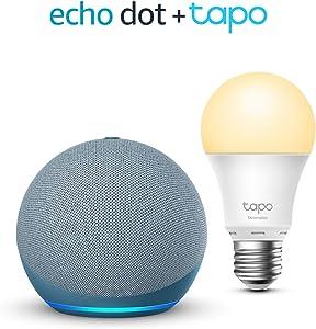 Echo Dot (4ª generazione), Ceruleo + TP-Link Tapo White Lampadina Connessa (E27), compatibile con Alexa
