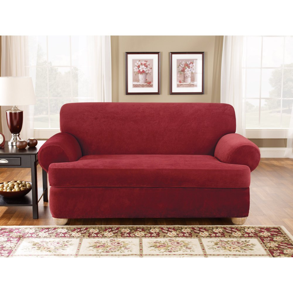 Sure Fit SF37946 3Piece Stretch Pique Slipcover - Garnet, Sofa by Surefit