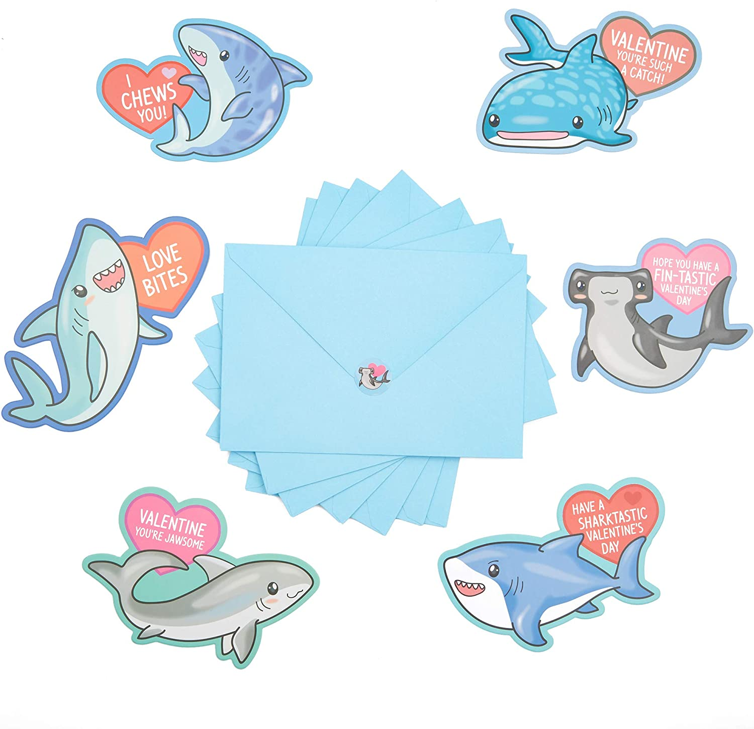 Shark Valentine's Day Cards with Stickers and Envelopes for Kids Classroom Exchange (36-Pack)