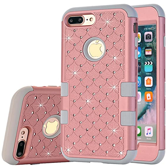 iPhone 8 Case,iPhone 7 Bling Case,Auker 2 in 1 Shock Absorbent Heavy Duty Glitter Mermaids Scale Impact Resistant Anti Slip Snap on Protective Back ...