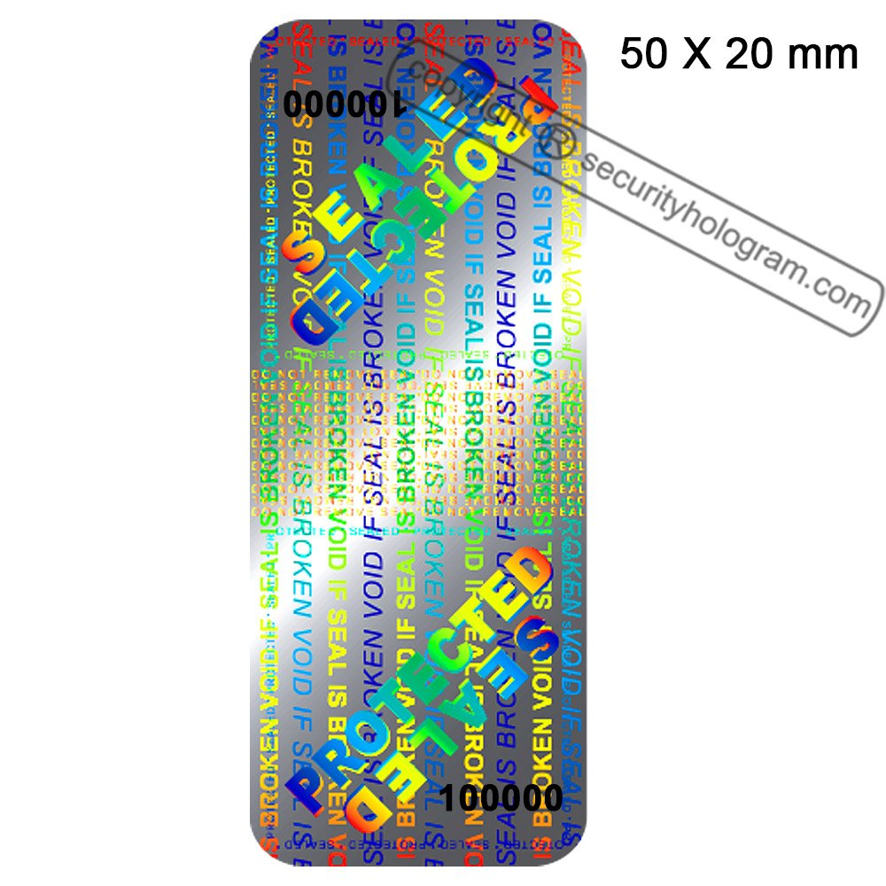 60 3D Stickers Protective Security Holograms ''Seal and Protect'' VOIDABLE!! Tamper Evident With DOUBLE SERIAL NUMBERS 2'' x 0.79'' (50 x 20 mm)