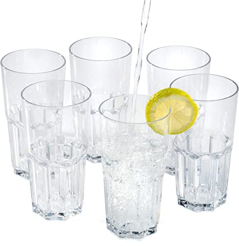 Vasos de agua zumo plástico duro reutilizables policarbonato cristal copas irrompibles 35 cl - Conjunto 6 Piezas