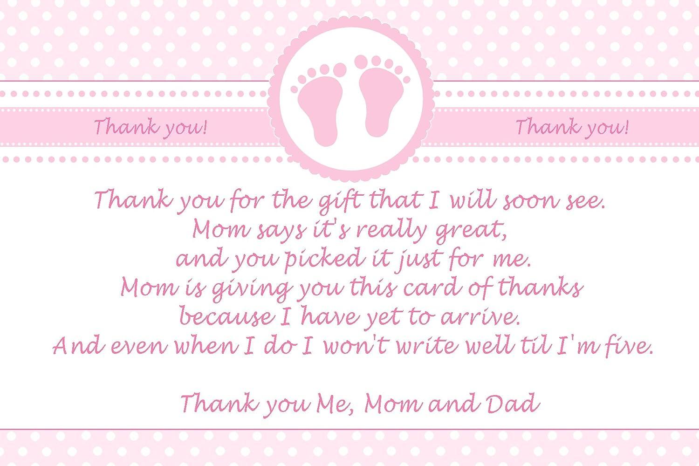 30 감사합니다 카드 핑크 폴카 도트 아기 소녀 샤워 사진 용지