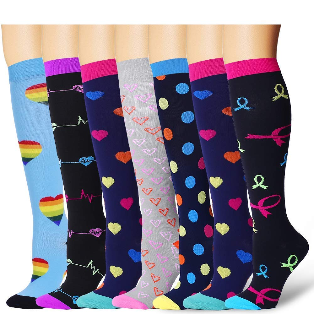 7 Pairs Compression Socks For Women and Men - Best Medical, Nursing, for Running, Athletic, Edema, Diabetic, Varicose Veins, Travel, Pregnancy & Maternity - 15-20mmHg (Assort6-L/XL)