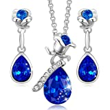 CDE Sapphire Jewelry Set for Women Crystals from Swarovski 18K White Gold Plated Gifts for Her Christmas Thanksgiving