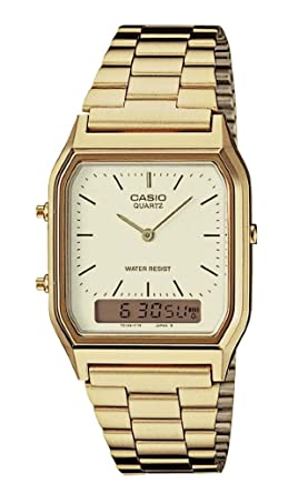 d94b941fc Image Unavailable. Image not available for. Color: Casio AQ230GA-9D Men's  Analog Digital Dual Time Gold Tone Metal Band Watch