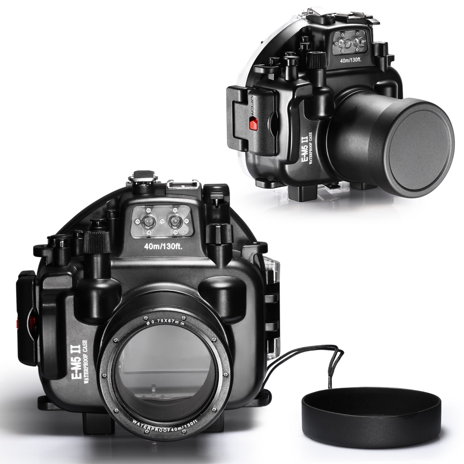 Compatible with 12-50mm lens Neewer/® 40M//130ft Waterproof Underwater Camera Housing Diving Case for Olympus E-M5 II