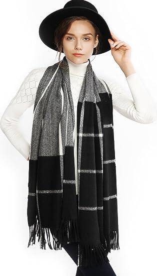 e65692b428 Women Cashmere Wool Scarf Pashmina Shawl Wrap Stole Winter Warm Thick Plaid  Striped Blanket Oversized Scarves