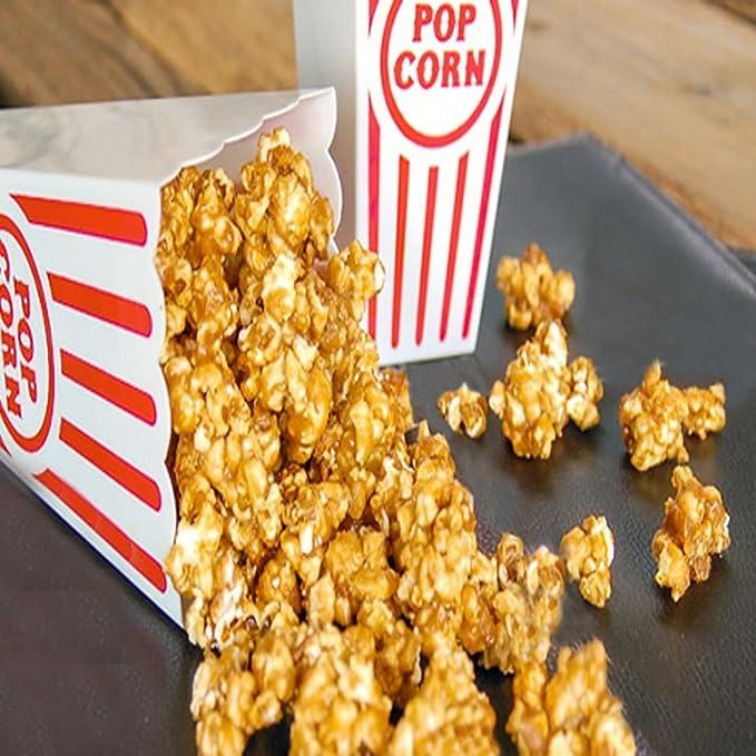 Novelty Place 7.8 Altezza x 3.8 Larghezza Contenitori Popcorn Classici a Strisce Rosse e Bianche in Plastica per Serata Film Confezione da 4