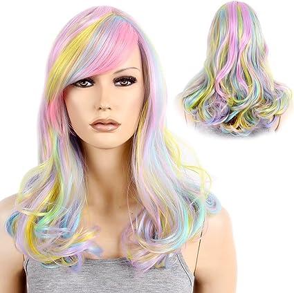 stfantasy Rainbow Ombre Multicolor de longitud media rizado ...