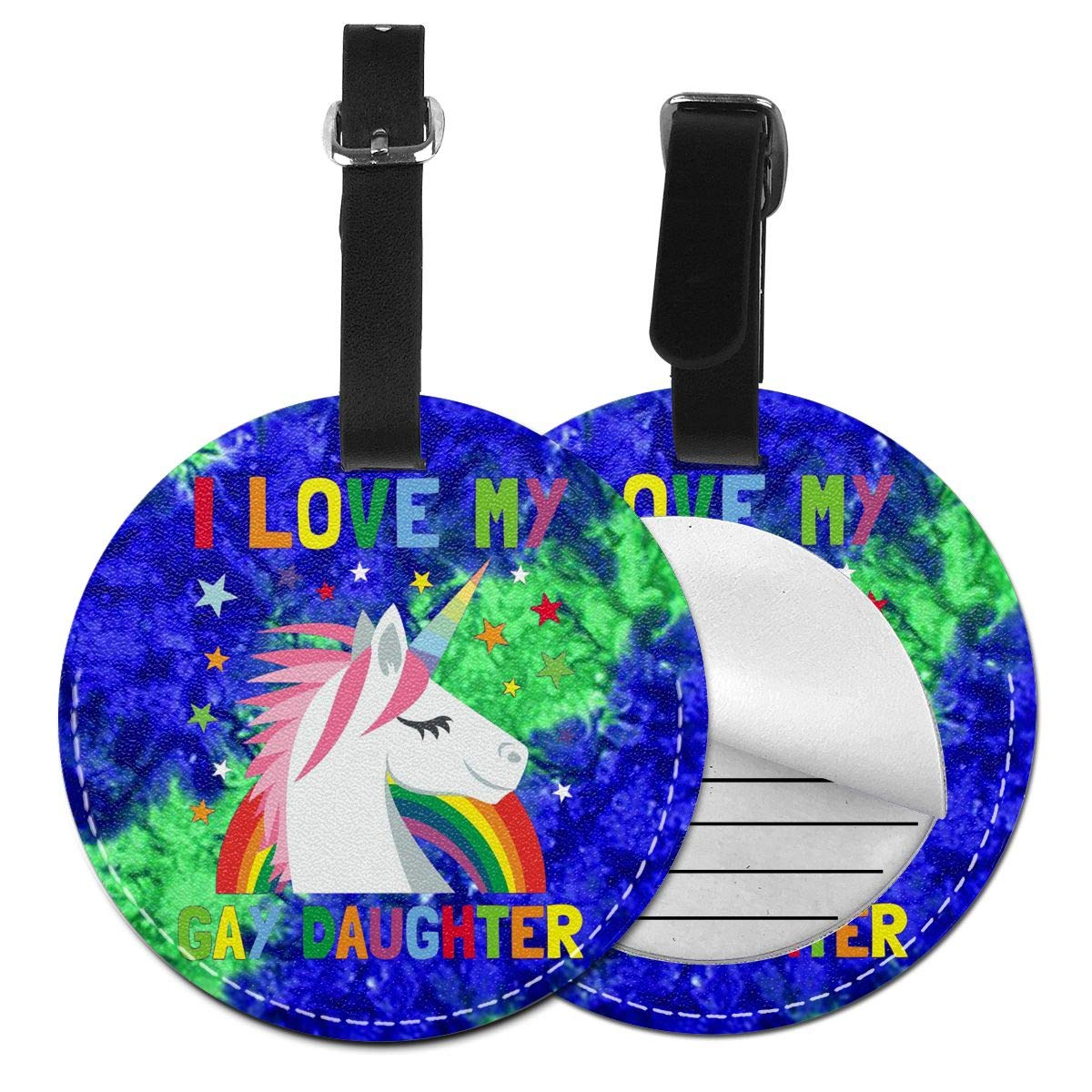 Free-2 I Love My Gay Daughter Luggage Tag 3D Print Leather Travel Bag ID Card