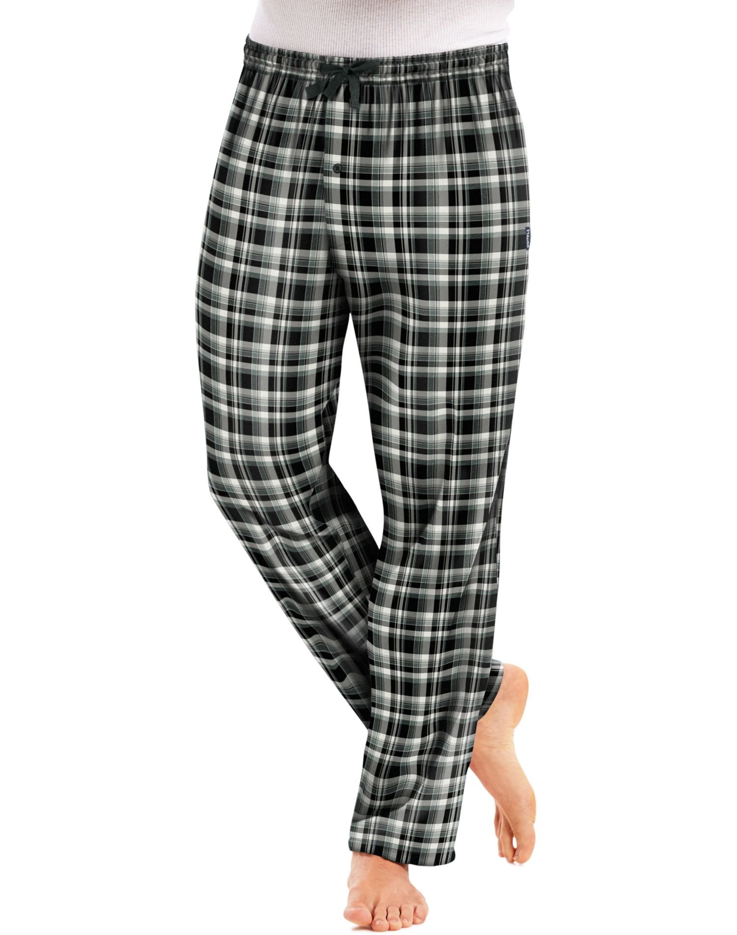 Hanes Men`s Flannel Pants with Comfort Flex Waistband, L, Black White