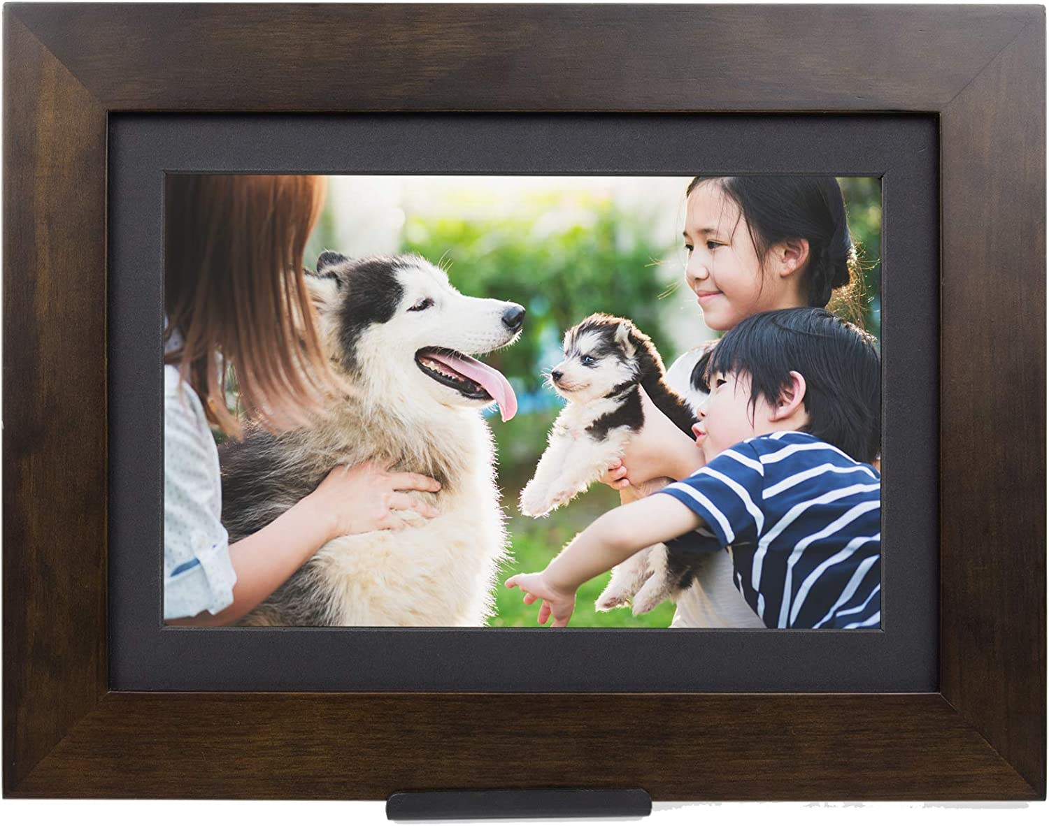 "PhotoShare Friends and Family Smart Frame Digital Photo Frame, 1-5 Day Shipping, Send Pics from Phone to Frame, WiFi, 8 GB, Holds Over 5,000 Photos, HD, 1080P, iOS, Android (10.1"", Espresso)"