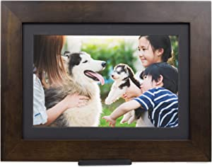 """PhotoShare Friends and Family Smart Frame Digital Photo Frame, 1-5 Day Shipping, Send Pics from Phone to Frame, WiFi, 8 GB, Holds Over 5,000 Photos, HD, 1080P, iOS, Android (10.1"""", Espresso)"""