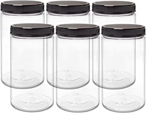 ljdeals 32 oz Clear Plastic Jars with Lids, Storage Containers, Wide Mouth PET Mason Jars, Pack of 6, BPA Free, Food Safe, Made in USA