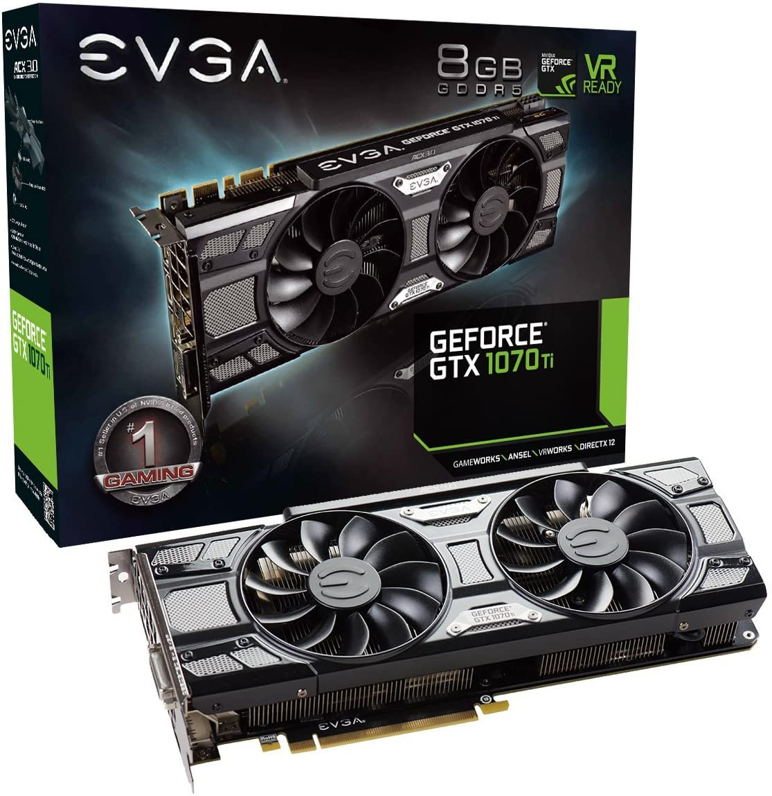 EVGA GeForce GTX 1070 Ti SC GAMING ACX 3.0 Black Edition, 8GB GDDR5, EVGA OCX Scanner OC, White LED, DX12OSD Support (PXOC) Graphics Card 08G-P4-5671-KR (Renewed)