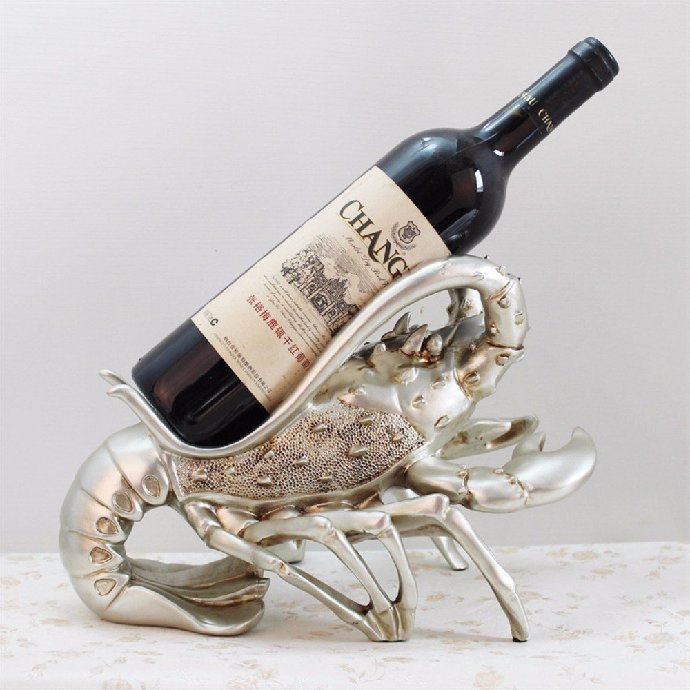 Gxinyanlong Resin craftwork modern simple silver lobster red wine rack restaurant window decorations wine cabinet decoration