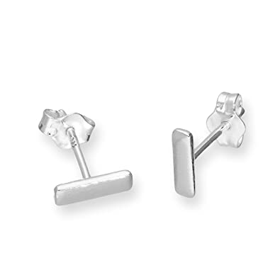 Infinite U Simple Plain Bar Studs Earrings 925 Sterling Silver Ear Studs for Women/Ladies/Girls, Silver
