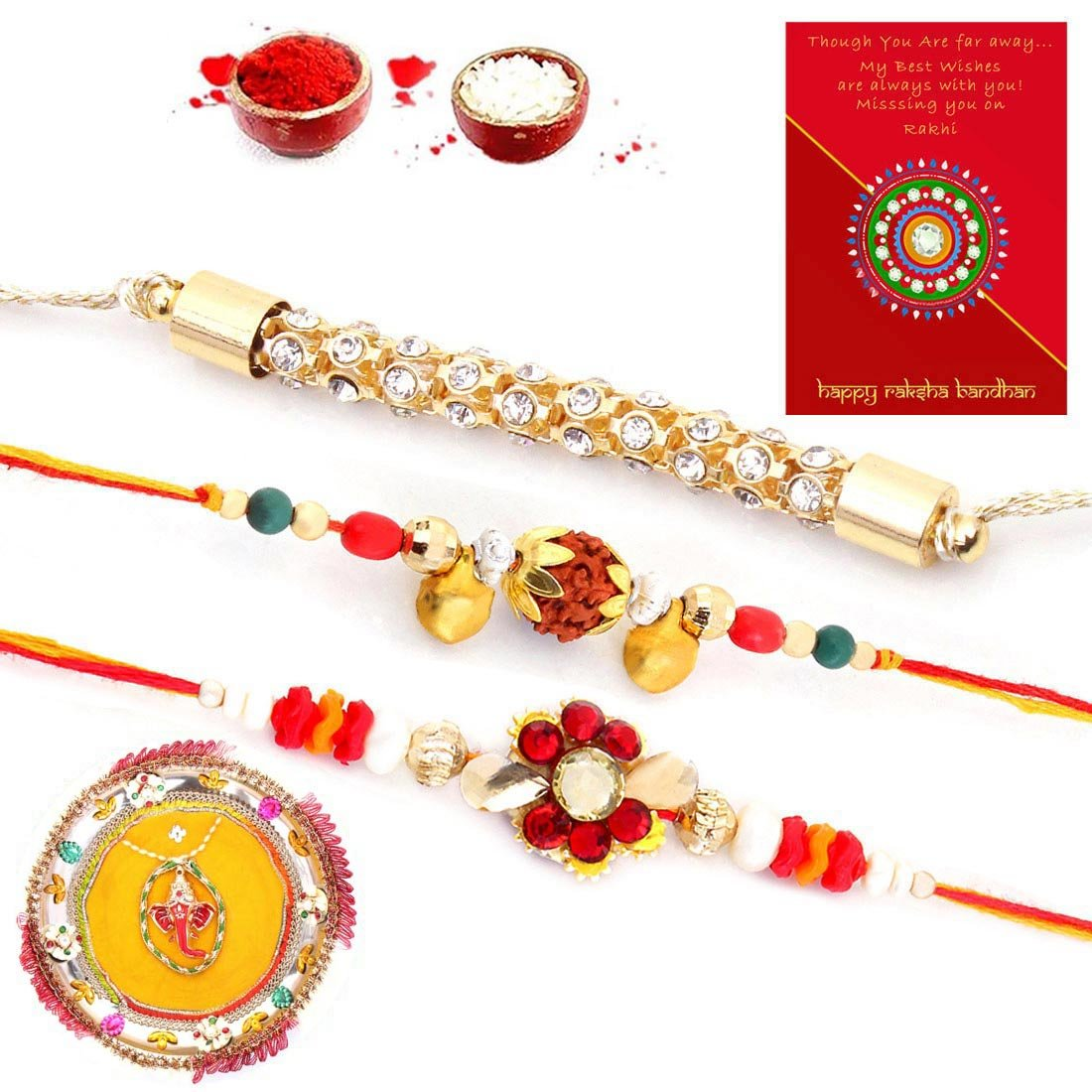 KumKum and Rice for Tilak 3 Assorted Rakhis Rakhi Raksha Bandhan Thread Bracelet Set for Brother with Puja Rakhi Thali