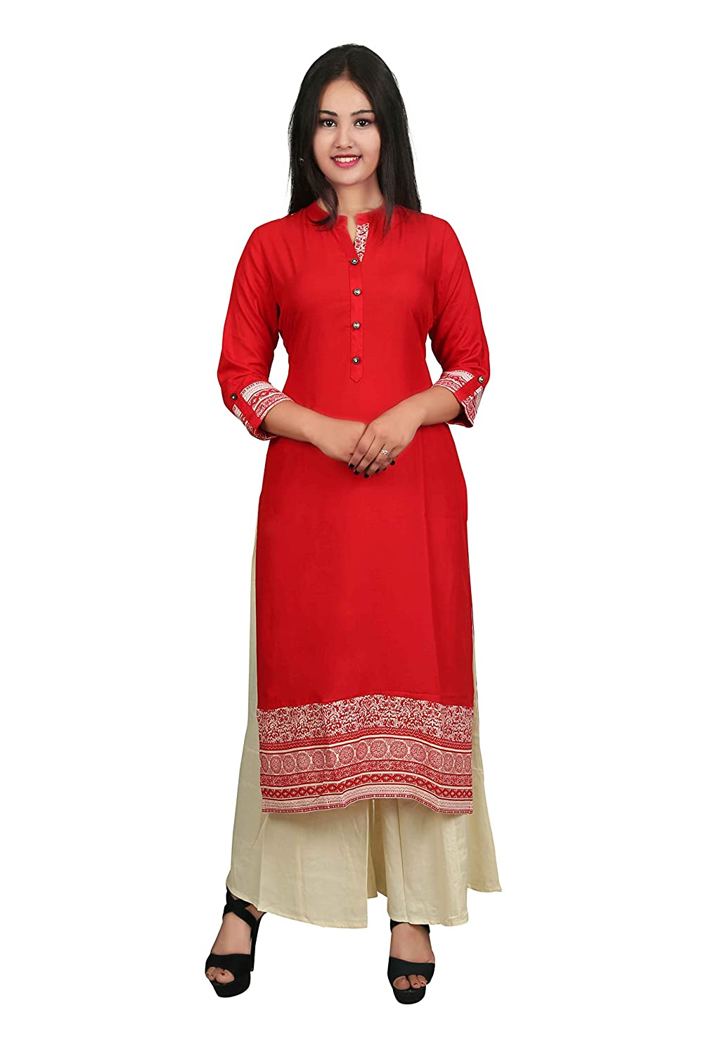 Red Solid 3/4 Sleeve Cotton Women's Kurta and Palazzo Set Indian Handicrfats Export D1-Red-Baige-XXL