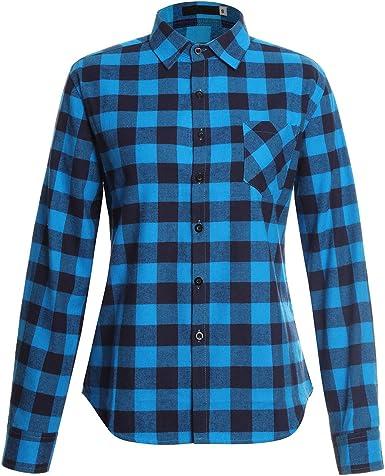 SotRong Camisa de franela para mujer de manga larga con ...