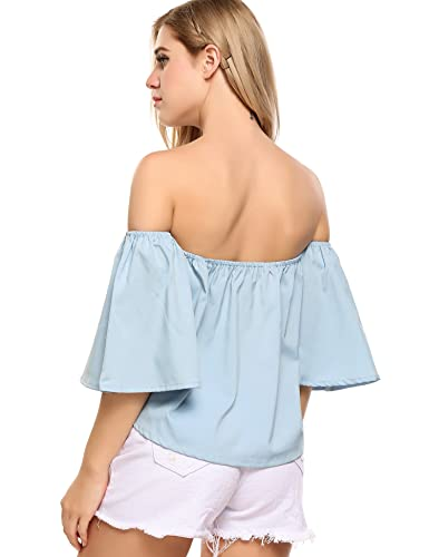 f8c7b1633b73 Amazon.com  Zeagoo Off Shoulder Top Casual Short Sleeve Shirt Cute Loose  Blouse  Clothing