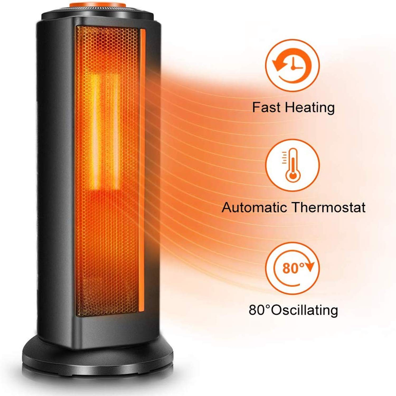 Space Heater Fan for Office - Quiet Portable Oscillating Electric Ceramic Tower Heater w/Thermostat, 1500W Fast Heating, Overheat & Tip-Over Protection, Ideal for Personal & Bedroom & Home Indoor Use