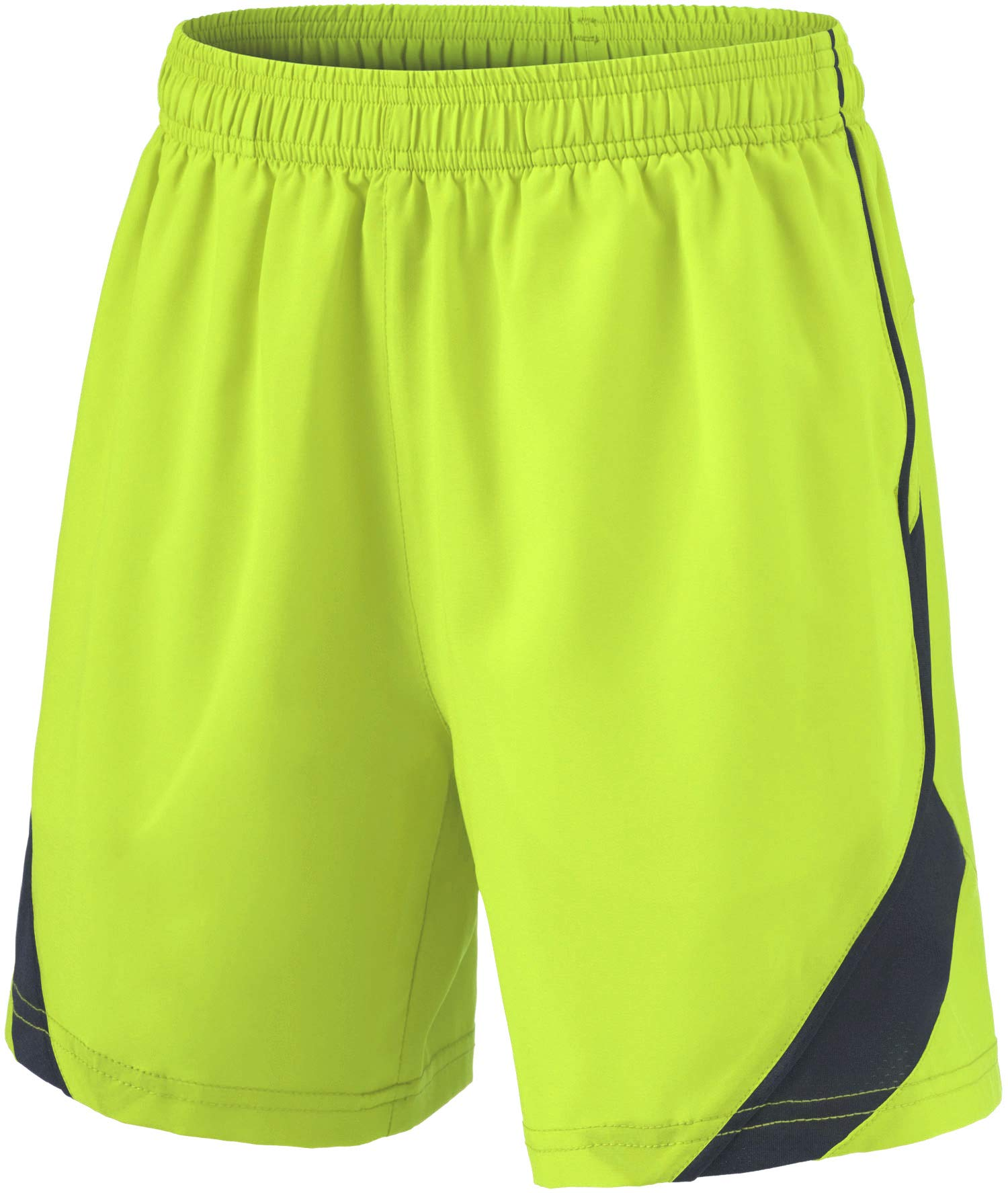TSLA Boy's Active Shorts Sports Performance Youth HyperDri II w Pockets, Stretch Pace(kbh76) - Neon, Youth X-Large by TSLA