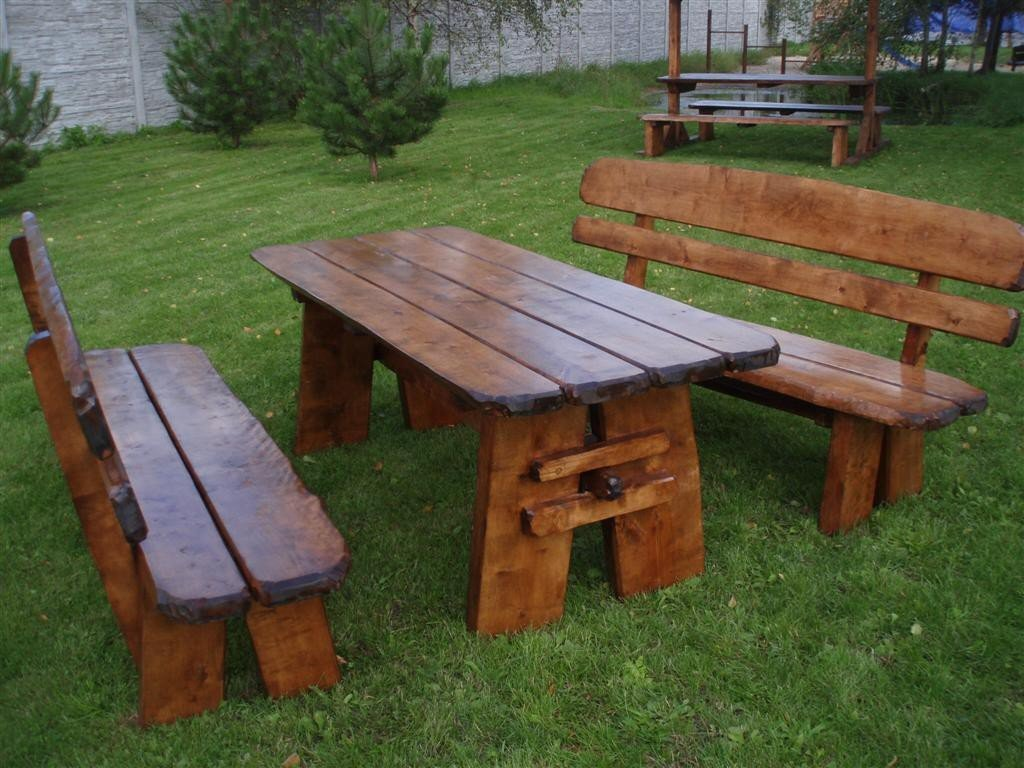 Timberline Sitzgruppe Natura XL 200 cm rustikal Outdoor Gartenmöbel, Farbe:Palisander;Material:Eiche