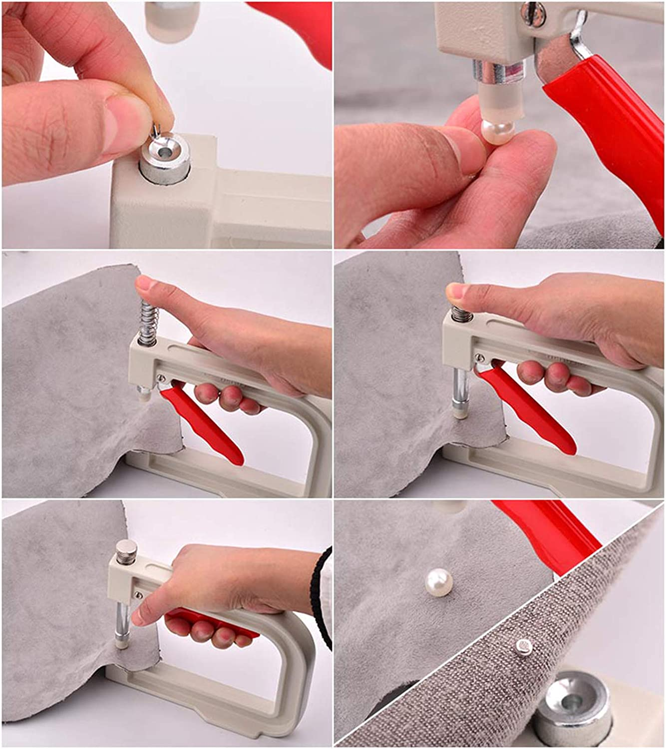 Pearl Setting Machine Nailed Bead Machine DIY Handmade Beads Rivet Fixing Machine with 150 Pcs Imitation Pearl Acrylic Beads in 5 Size Rivet Buttons and Tweezer for Clothes Bags Skirts DIY Crafts