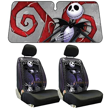 5pc Nightmare Before Christmas Low Back Seat Covers Aluminum Sun Shade Set New