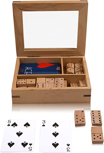 Handcrafted Classic Wooden Playing Card Holder Deck Box Storage Case Organizer With Dominoes & Dice Set & Pack of Premium Quality Ace Playing Cards Birthday Housewarming Gift Ideas For Men Women: Amazon.es: