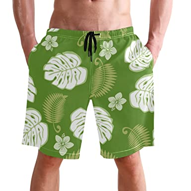 63a85b3bf8829 FFY Go Beach Shorts, Green Leaf Printed Mens Trunks Swim Short Quick Dry  with Pockets for Summer Surfing Boardshorts Outdoor Water Sports:  Amazon.co.uk: ...