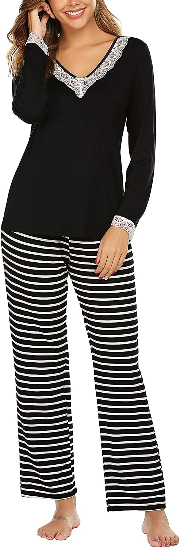 Details about  /Aoymay Women/'s V-Neck Pajamas Set Short Sleeve Sleepwear Ladies Loungewear