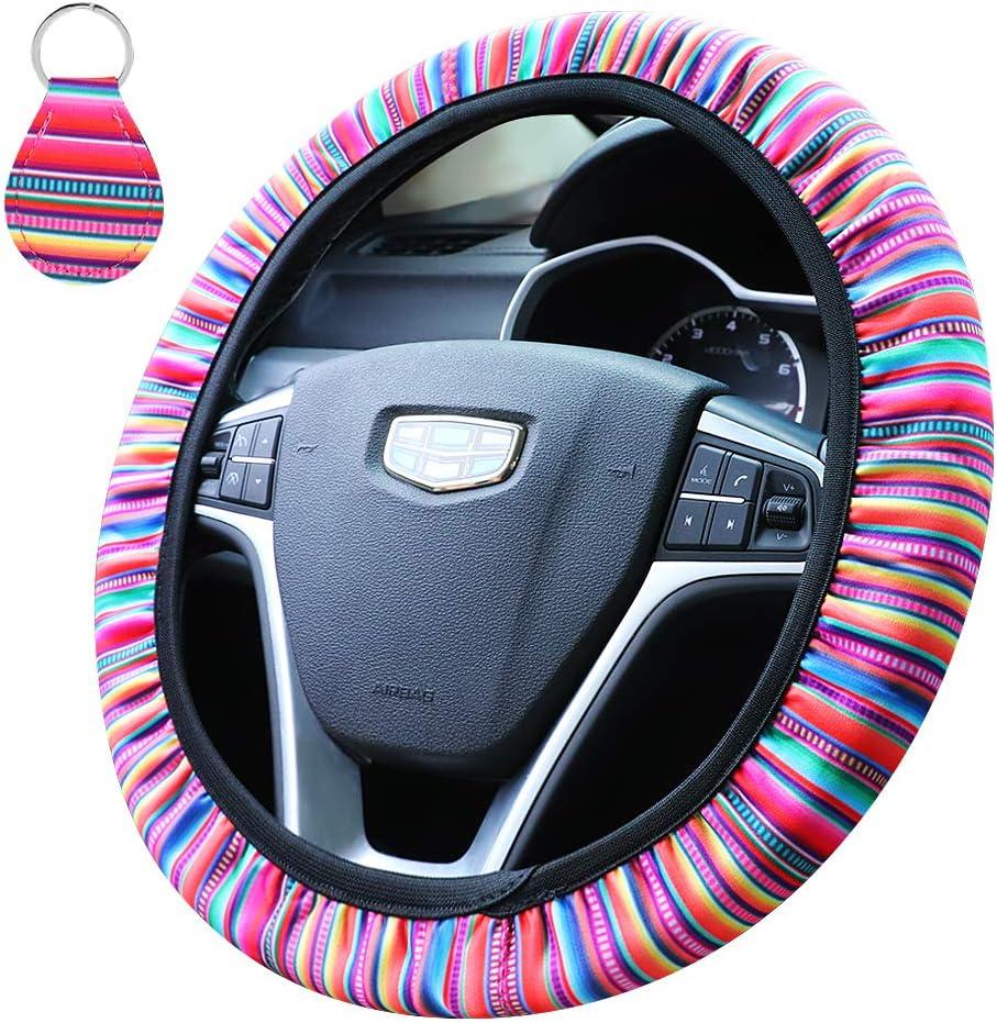 Car Steering Wheel Cover Flax Cute Breathable For Women Girls Anti-Slip D
