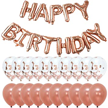 rose gold happy birthday party decorations banner letter balloons 10pcs 18 confetti
