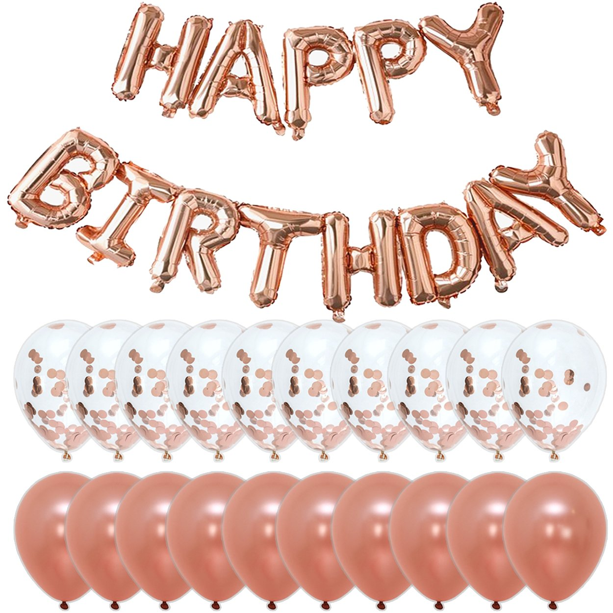 Rose Gold Happy Birthday Party Decorations   Banner Letter Balloons + 10pcs 18'' Confetti + 10pcs 18'' Large Latex Balloons   Kit/Set For Bday Décor