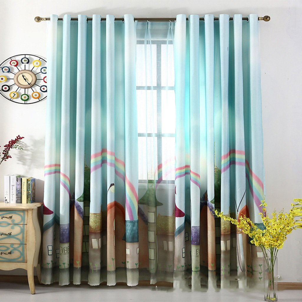 Met Love Printing Cartoon Rainbow Floor Curtains Bedroom Curtains Blackout Ready Made Eyelet Blackout Curtains For Living Room With Two Matching Tie Backs 2 Panels ( Size : 1.5*2.7m )