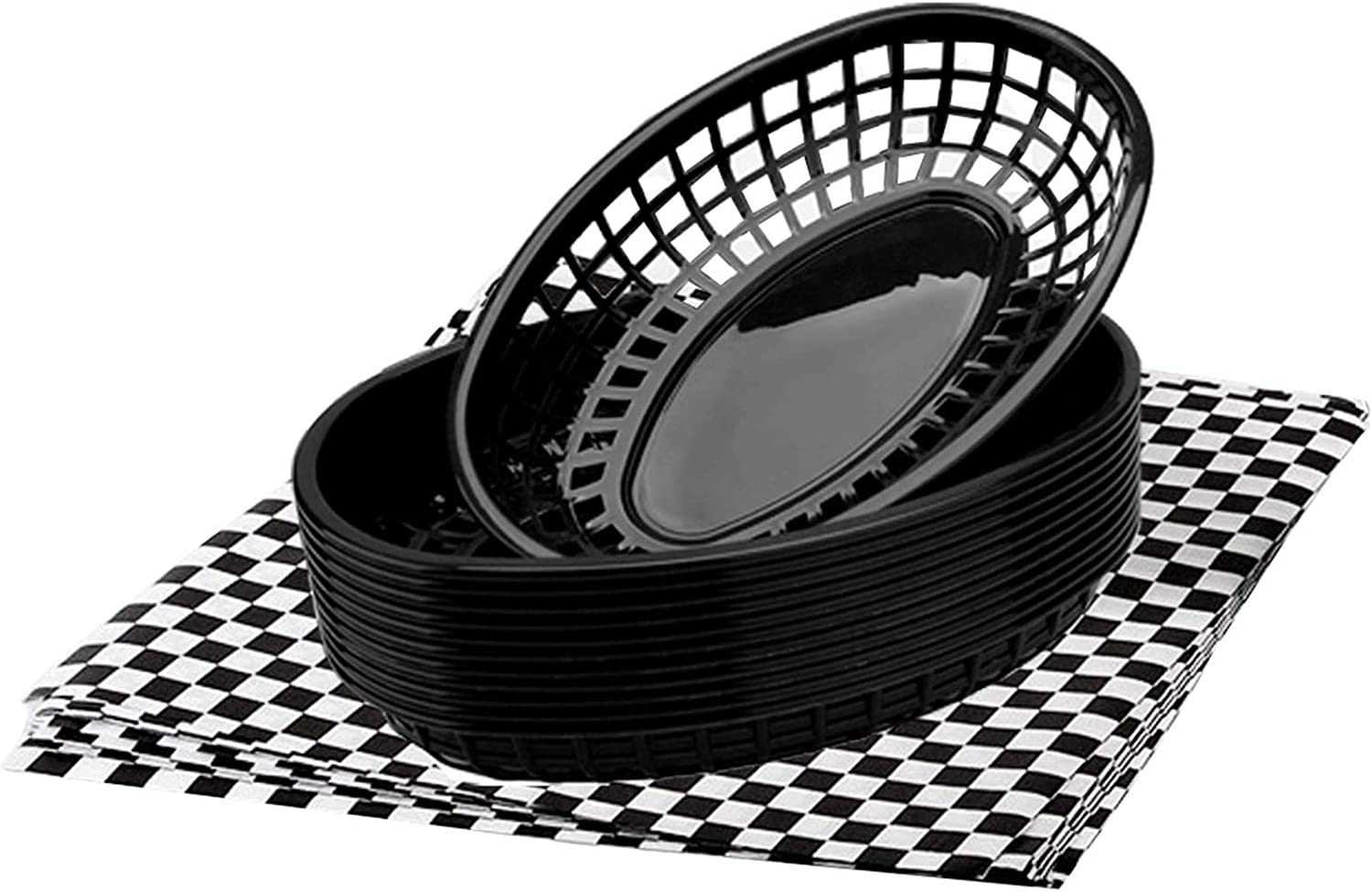 FEOOWV 12Pcs Oval-Shaped Plastic Fast Food Basket and 100 Pcs Checkered Paper for Fast Food Restaurant Supplies, Deli Serving, Bread Baskets, Burgers, Sandwiches & Fries (Black)